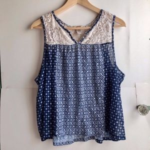 ARIONZA Navy Blue Ivory Geometric Lace Tank Top 1X
